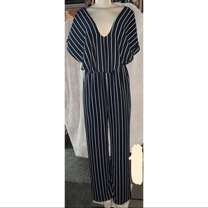 Mind Code Short Sleeve Striped Jumpsuit Sz L